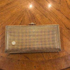 Vintage gold-tone & rhinestone wire basket clutch